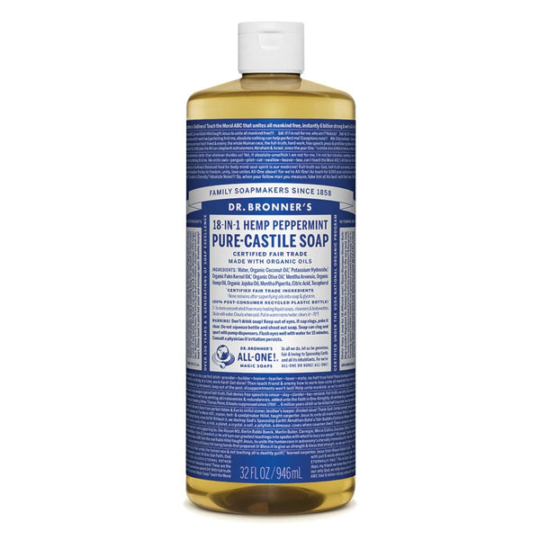 Dr. Bronner's Pure-Castile Liquid Soap (Hemp 18-in-1) Peppermint 946ml