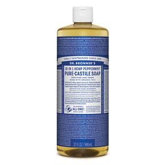 Dr. Bronner's Pure-Castile Liquid Soap (Hemp 18-in-1) Peppermint - The Vegan Town