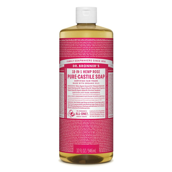 Dr. Bronner's Pure-Castile Liquid Soap (Hemp 18-in-1) Rose - The Vegan Town