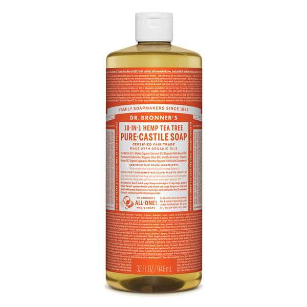 Dr. Bronner's Pure-Castile Liquid Soap (Hemp 18-in-1) Tea Tree - The Vegan Town