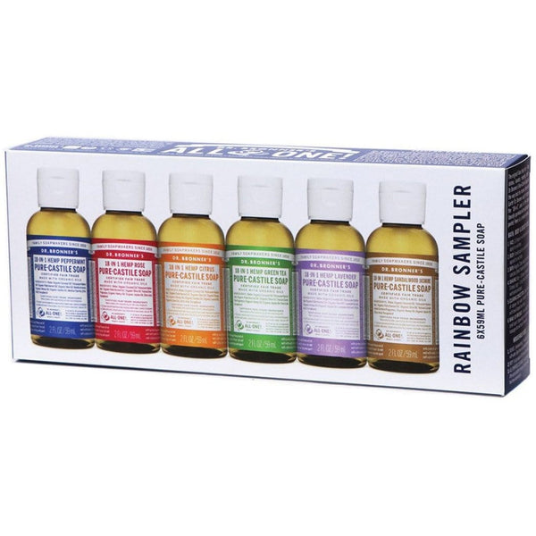 Dr. Bronner's Pure-Castile Soap Liquid (Hemp 18-in-1) Rainbow Sampler 59ml x 6 Pack - The Vegan Town