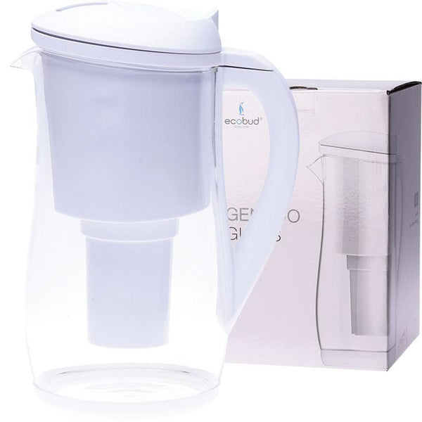 1.5L Glass Alkaline Water Filter Jug White with 1 x Filter Cartridge included | The Vegan Town