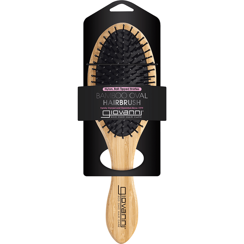 Giovanni Bamboo Hair Brush Oval - Nylon, Ball-Tipped Bristles with packaging