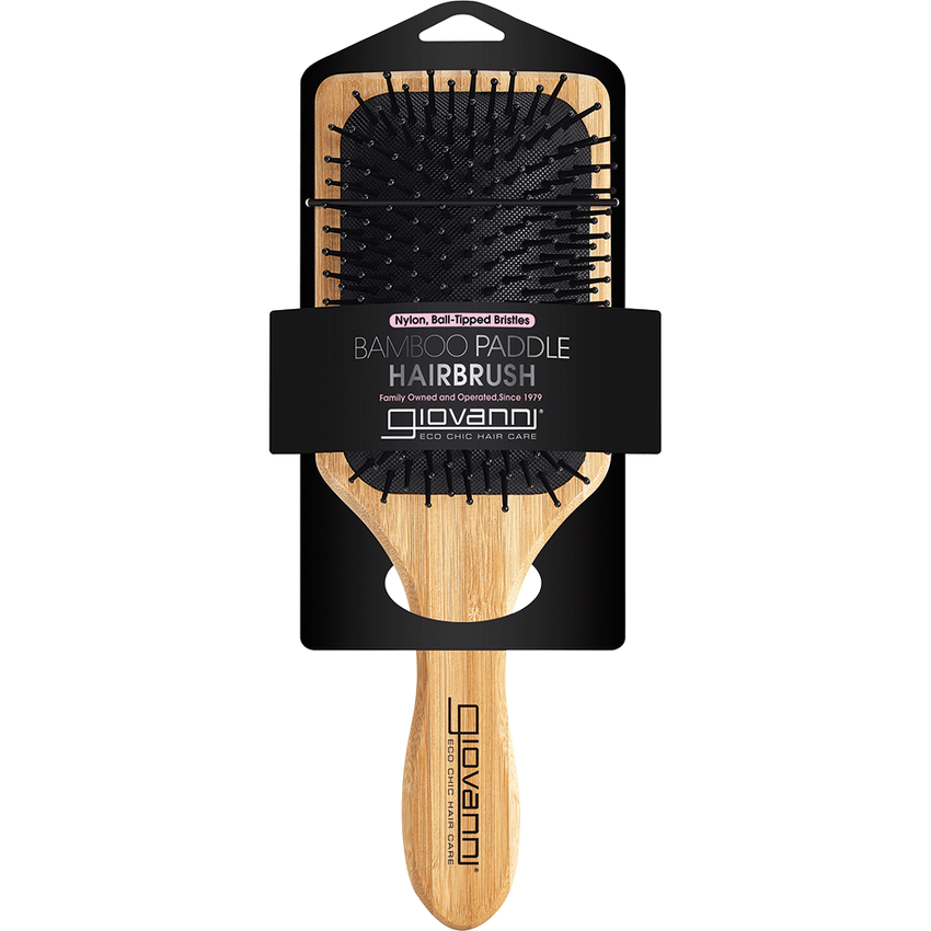 Giovanni Bamboo Hair Brush Paddle - Nylon, Ball-Tipped Bristles with packaging