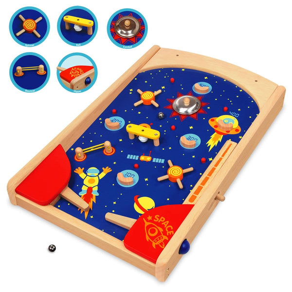 I'm Toy Space Pinball Eco Wooden Toy Game Close Up | Educational Toys - The Vegan Town