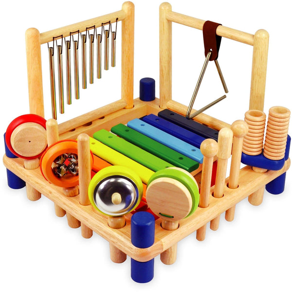 I'm Toy Melody Mix with xylophone, drum, tubular chimes, triangle, cymbal, bells, maracas, castanet, double guiro, and pair of rhythm sticks plus 2 strikers and 1 scraper | Eco Toys and Games - Kids Educational - The Vegan Town