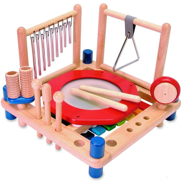 I'm Toy Melody Mix with drums and drum sticks, xylophone, drum, tubular chimes, triangle, cymbal, bells, maracas, castanet, double guiro, and pair of rhythm sticks plus 2 strikers and 1 scraper | Eco Toys and Games - Kids Educational - The Vegan Town