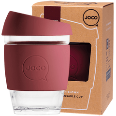 Joco Reusable Glass Cup 354ml Ruby Wine Colour | Online Vegan Store | Eco Products