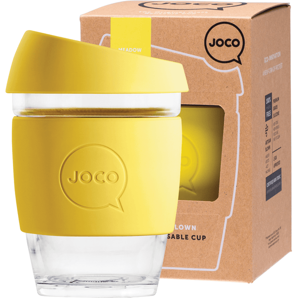 Joco Reusable Glass Cup 354ml Yellow Colour | Online Vegan Store | Eco Products
