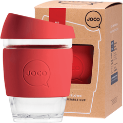 Joco Reusable Glass Cup 354ml Red Colour | Online Vegan Store | Eco Products