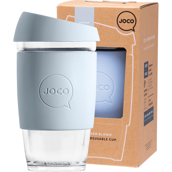 Joco Reusable Glass Cup Large 473ml Soft Blue Colour | Online Vegan Store Eco Products