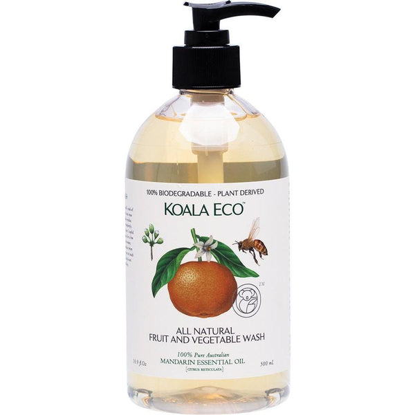 Koala Eco Fruit And Vegetable Wash Mandarin Essential Oil 500ml - The Vegan Town