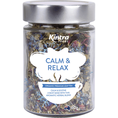 Kintra Foods Loose Leaf Tea Calm and Relax 60g in a glass jar | Online Vegan Store | The Vegan Town
