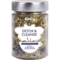 Kintra Foods Loose Leaf Tea Detox and Cleanse 60g in a glass jar | Online Vegan Store | The Vegan Town