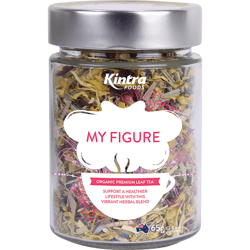 Kintra Foods Loose Leaf Tea My Figure 65g in a glass jar | Online Vegan Store | The Vegan Town