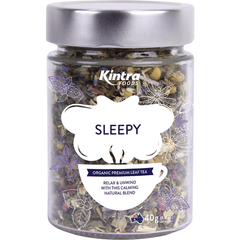 Kintra Foods Loose Leaf Tea Sleepy 40g in a glass jar | Online Vegan Store | The Vegan Town