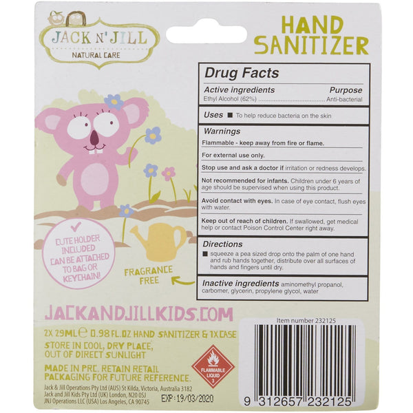 Jack N' Jill Koala Hand Sanitiser 2x29ml - The Vegan Town