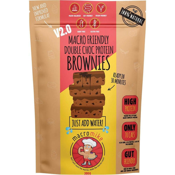 Macro Mike Macro Friendly Brownies Double Choc Protein 300g - The Vegan Town