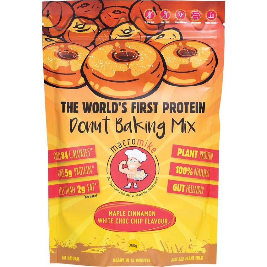 MACRO MIKE Protein Donut Baking Mix Maple Cinnamon White Choc Chip 300g - The Vegan Town