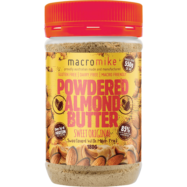 Macro Mike Powdered Almond Butter Sweet Original 180g Jar Vegan Online Store