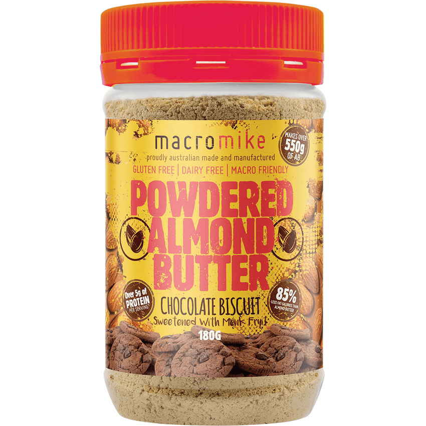 Macro Mike Powdered Almond Butter Chocolate Biscuit 180g | Vegan Food Online | The Vegan Town