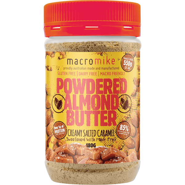 Macro Mike Powdered Almond Butter Creamy Salted Caramel 180g | Vegan Food Online | The Vegan Town