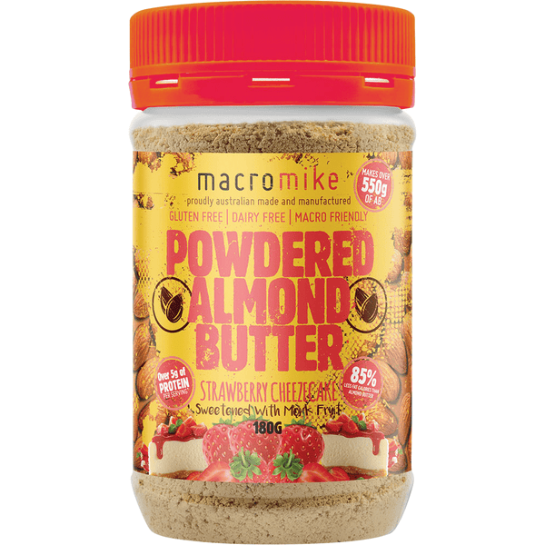 Macro Mike Powdered Almond Butter Strawberry Cheezecake 180g | Vegan Food Online | The Vegan Town