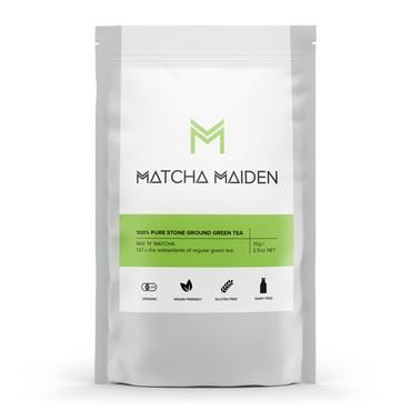 Matcha Maiden Matcha Green Tea Powder 100% Pure Stone Ground 70g Green and white packet Vegan Green Tea - The Vegan Town