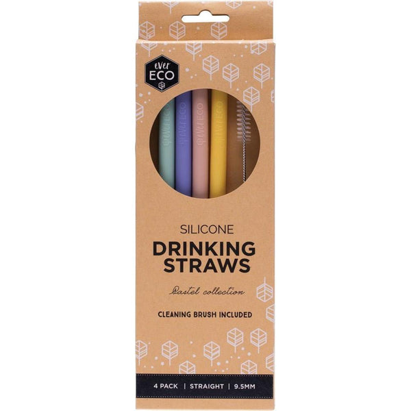 Ever Eco Straight Silicone Drinking Straws in a 4 pack with a brush cleaner included multicolour