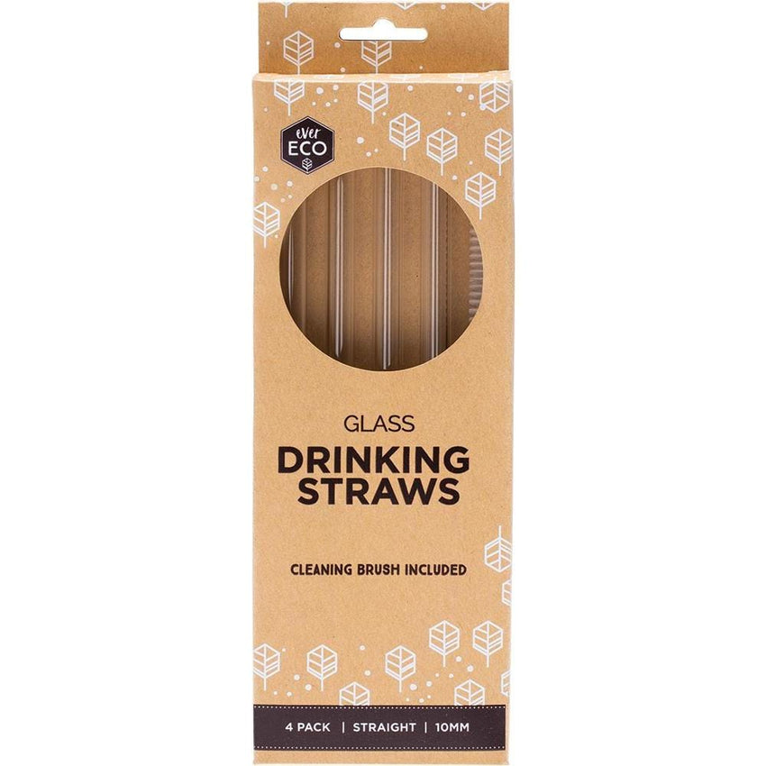 Ever Eco Straight Glass Straws 4pck + Cleaning Brush - The Vegan Town