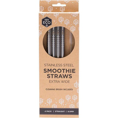 Ever Eco Stainless Steel Smoothie Straws Extra Wide 4 pack + cleaning brush - The Vegan Town