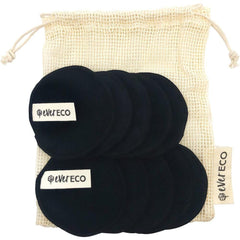 Ever Eco 10x Reusable Bamboo Facial Pads Black With Cotton Wash Bag