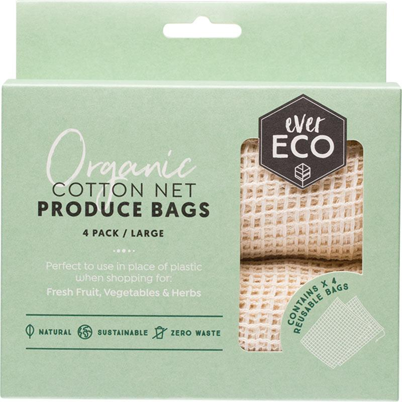 Ever Eco Reusable Produce Bags Organic Cotton Net 4 Pack