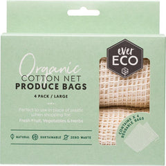 Ever Eco Reusable Produce Bags Organic Cotton Net 4 Pack - The Vegan Town
