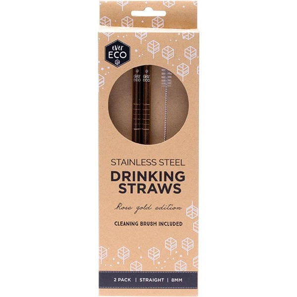 Ever Eco Straight Stainless Steel Straws Rose Gold 2pk + Cleaning Brush
