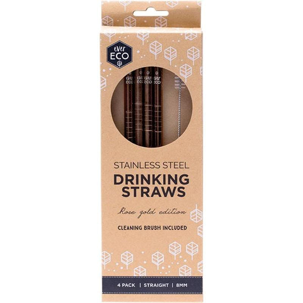 Ever Eco Straight Stainless Steel Straws Rose Gold 4pk + Cleaning Brush