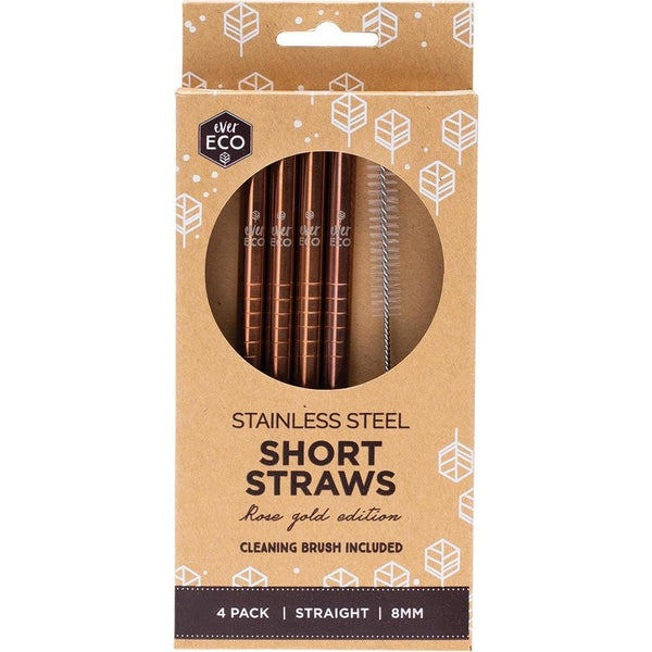 Ever Eco Rose Gold Stainless Steel Short Straws 4pk + Cleaning Brush