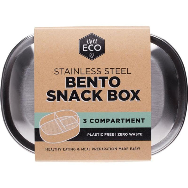 Ever Eco Stainless Steel Bento Snack Box - 3 Compartments - The Vegan Town