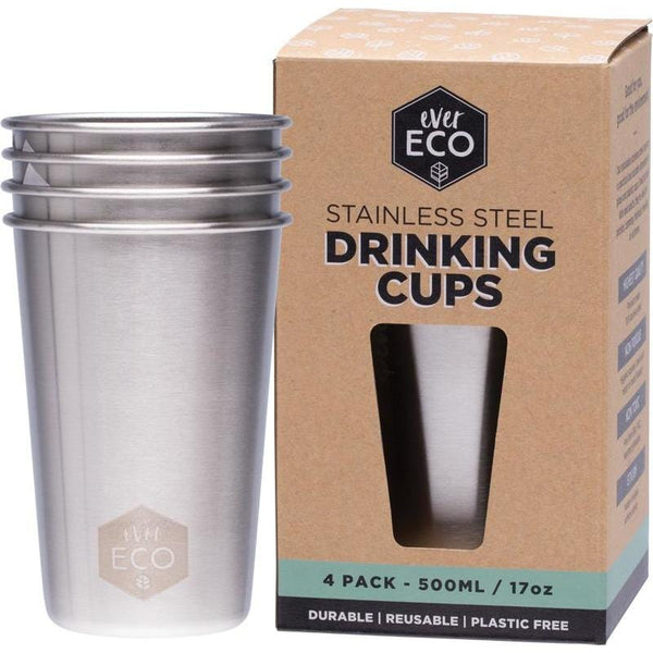 Ever Eco Stainless Steel Drinking Cups 4 Pack 500ml