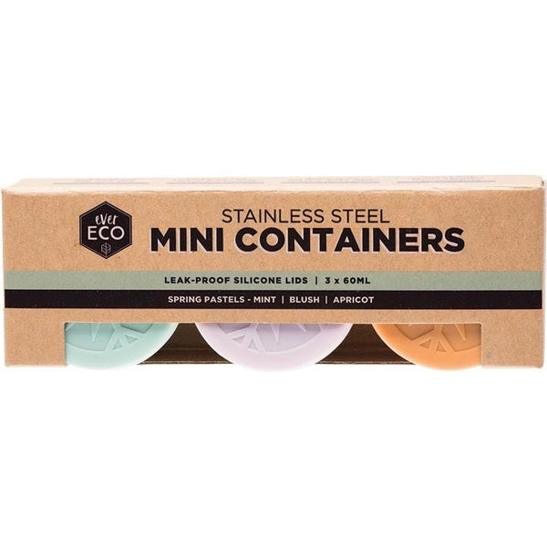 Ever Eco Leak Resistant Stainless Steel Mini Containers Pastel Lids 3pk 60ml - The Vegan Town