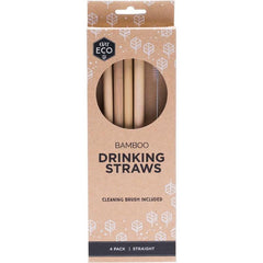 Ever Eco Bamboo Straws 4pk + Cleaning Brush - The Vegan Town
