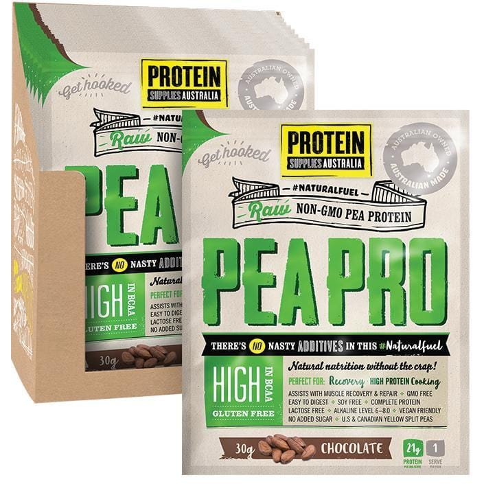 Protein Supplies Aust. PeaPro (Raw Pea Protein) Chocolate - in various sizes - The Vegan Town