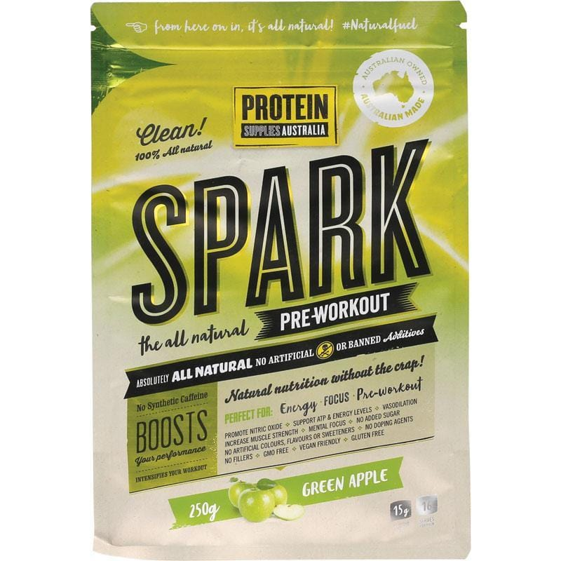 Protein Supplies Aust. Spark All Natural Pre-Workout - Green Apple - in various sizes - The Vegan Town