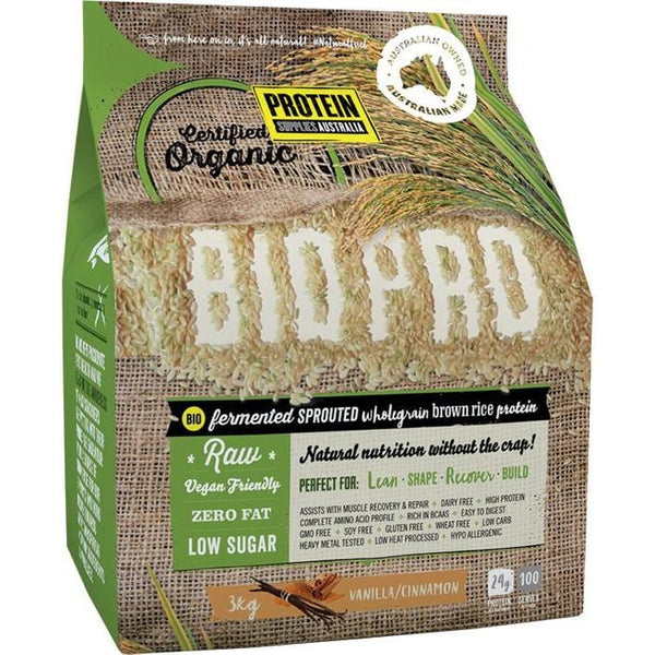 Protein Supplies Aust. BioPro (Sprouted Brown Rice) Vanilla & Cinnamon - various sizes available