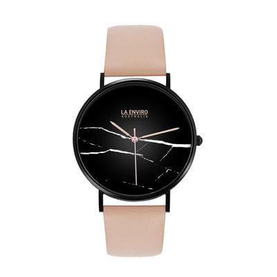 La Enviro Pink Vegan Leather Watch with Black Marble Face