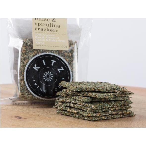 Kitz Living Foods Organic Fresh Herb Dulse & Spirulina Crackers G/F 100g with crackers made up in front of the packet