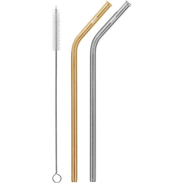 Cheeki Stainless Steel Silver & Gold Straws + Cleaning Brush - Bent - The Vegan Town