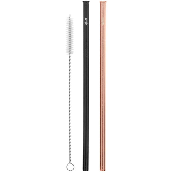 Cheeki Stainless Steel Straws - Rose Gold & Black + Brush - Straight - The Vegan Town