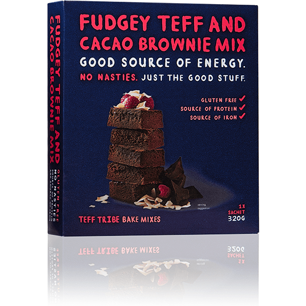 Teff Tribe Fudgey Teff And Cacao Brownie Mix Gluten Free 320g front of packet