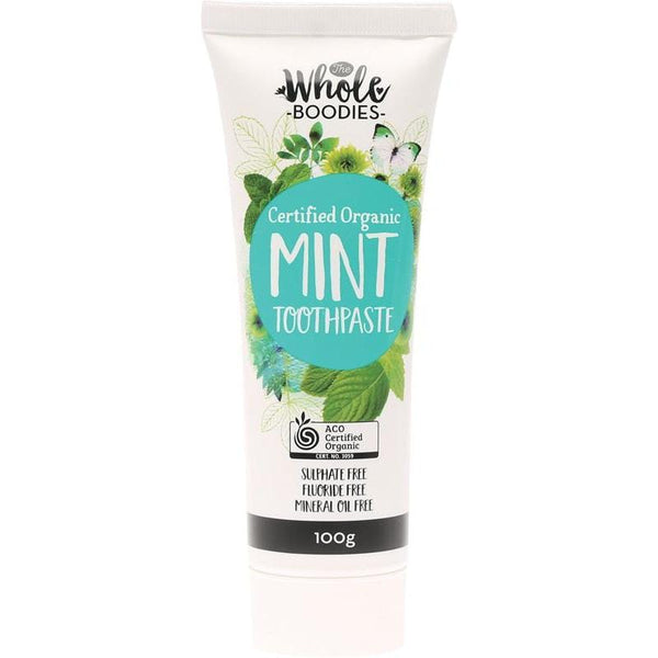 The Whole Boodies Fluoride Free Toothpaste - Mint 100g - The Vegan Town